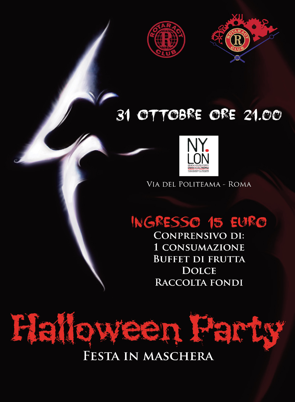 Rotary, rotaract, Halloween Party, festa in maschera, raccolta fondi, manifesto