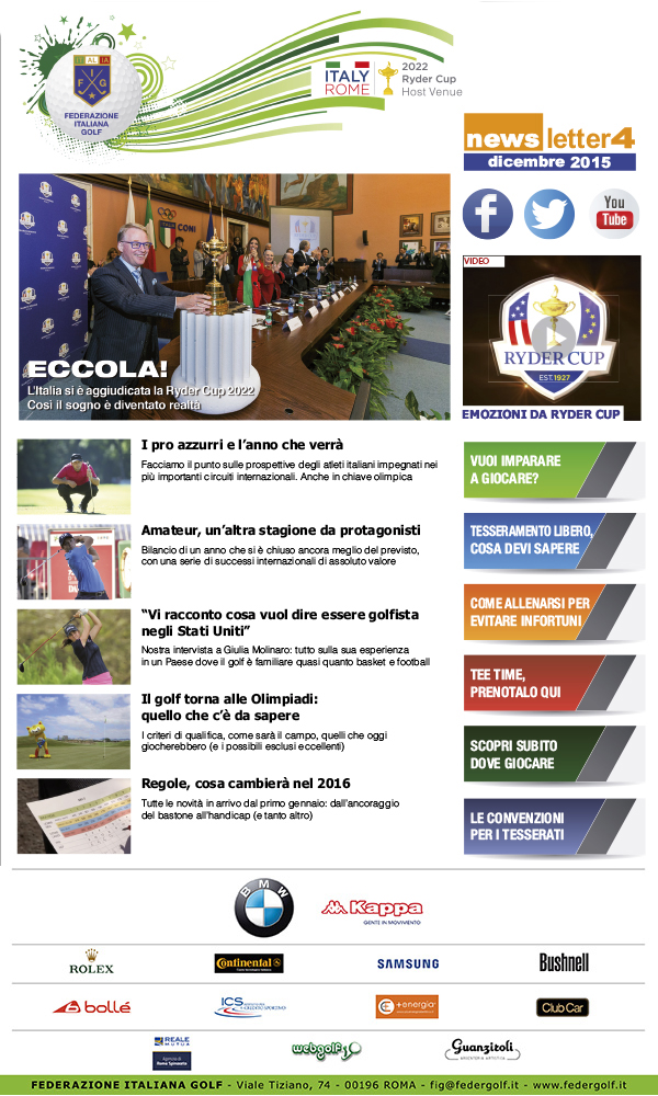Federazione Italiana Golf, Federgolf, Golf, FIG, newsletter